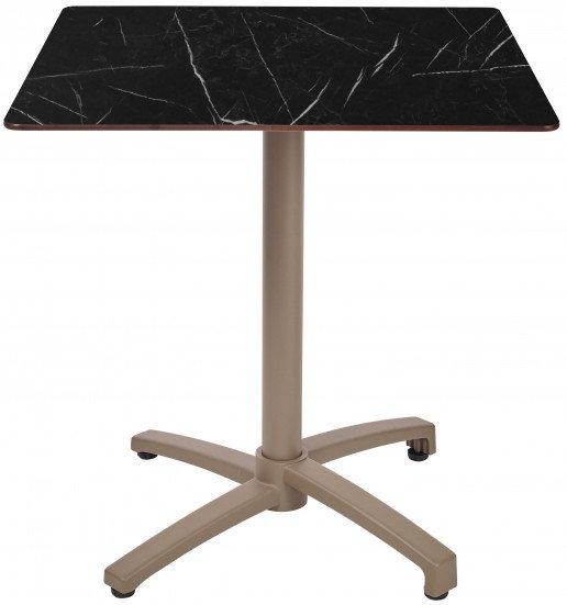 Mesa Ezpeleta abatible Taupe Marrones black marble Aluminio lacado 60x70