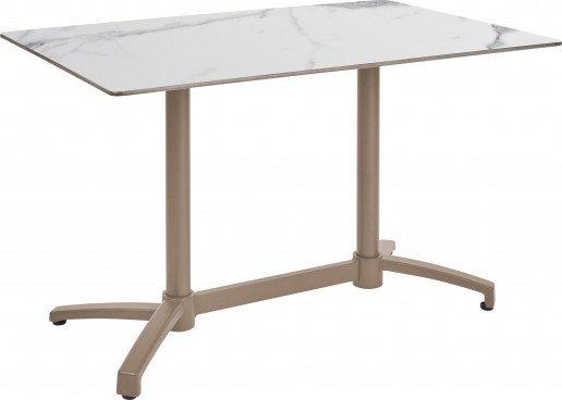 Mesa Ezpeleta abatible Taupe Marrones white marble Aluminio lacado 110x70