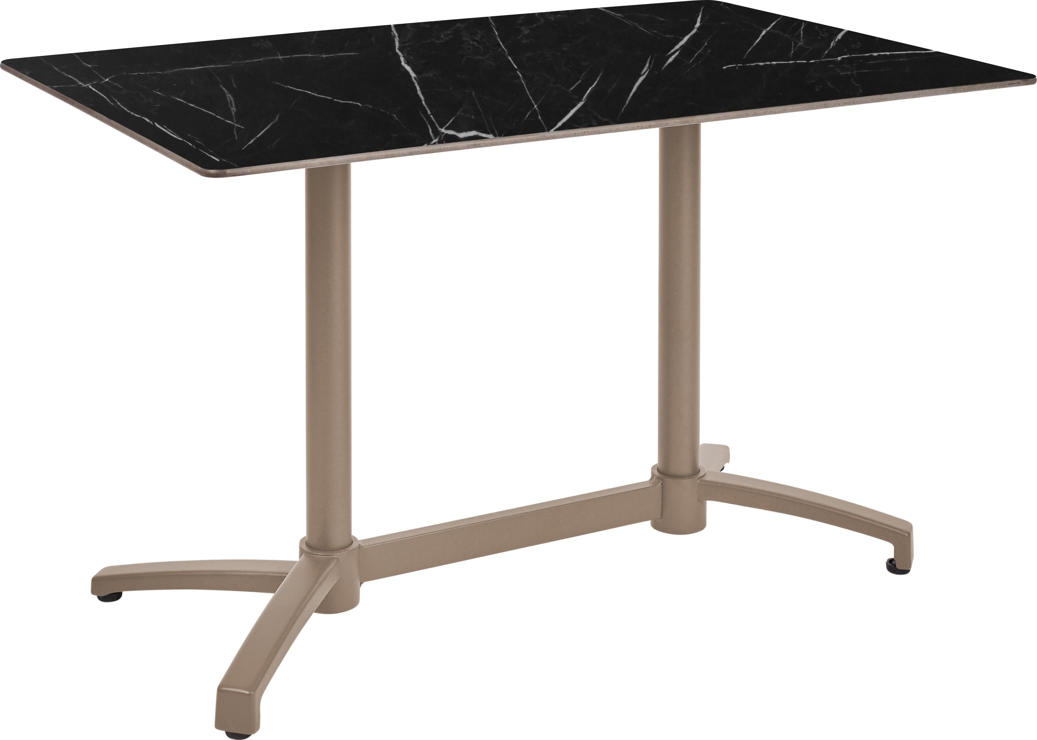 Mesa Ezpeleta abatible Taupe Marrones black marble Aluminio lacado 110x70