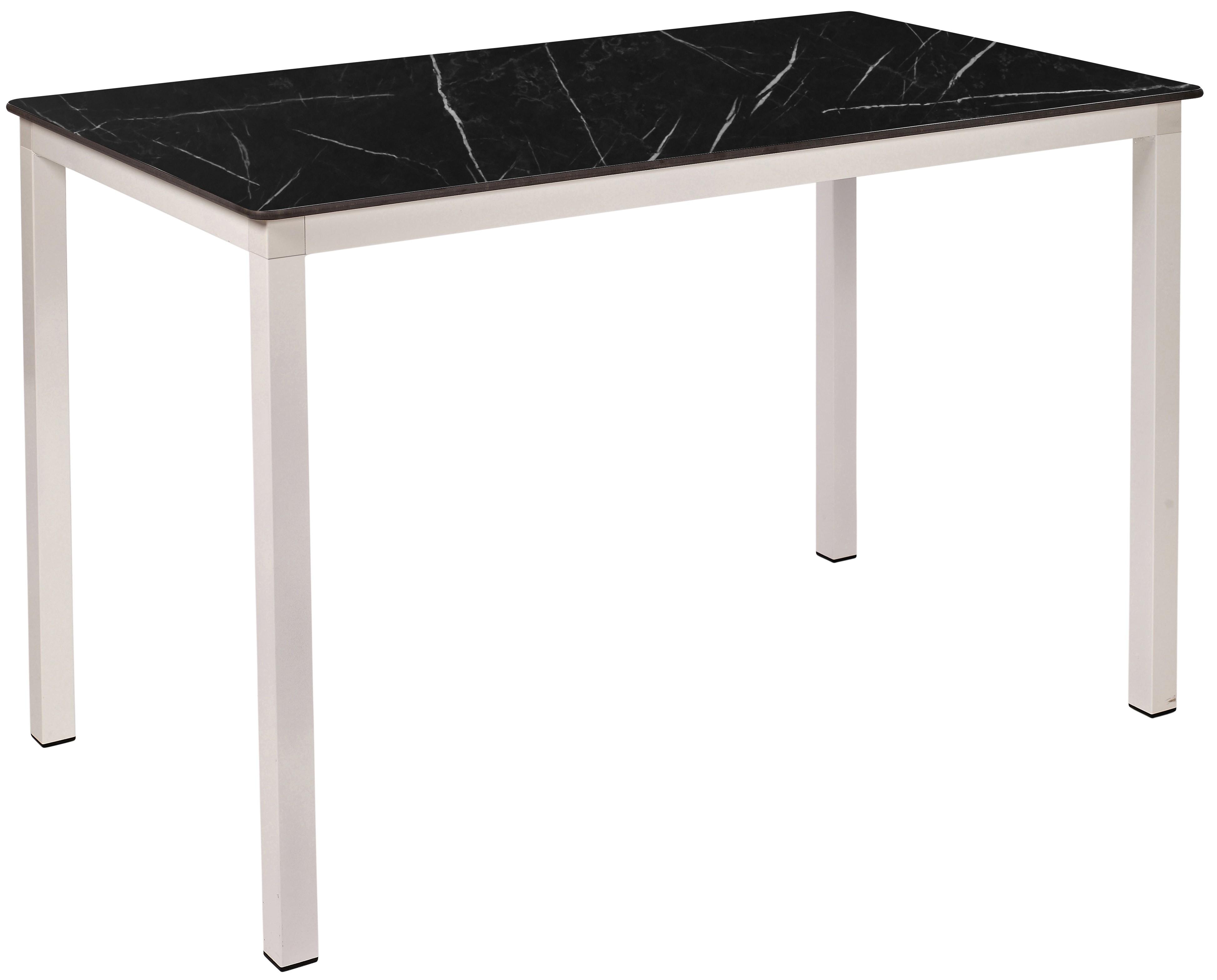 Mesa Ezpeleta apilable white Blancos black marble Aluminio lacado 120x80