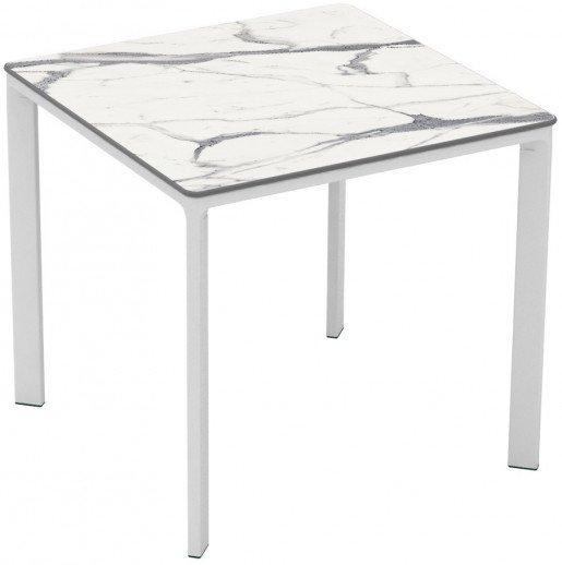 Mesa Ezpeleta apilable white Blancos white marble Aluminio lacado 80x80