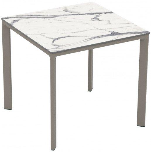 Mesa Ezpeleta apilable Taupe Marrones white marble Aluminio lacado 80x80