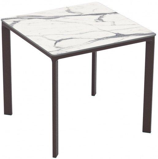 Mesa Ezpeleta apilable Moka Marrones white marble Aluminio lacado 80x80